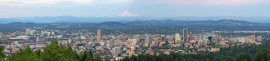 Portland Photograph - Portland Oregon Cityscape Daytime Panorama by David Gn
