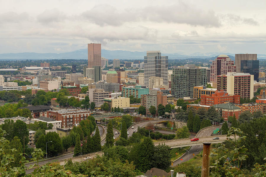 Portland Photograph - Portland Oregon Downtown Cityscape By Freeway by David Gn
