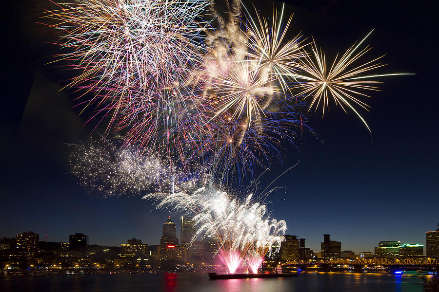 Happy New Year Photograph - Portland Oregon Fireworks by David Gn