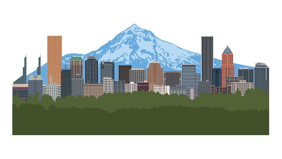 Portland Oregon Skyline Color Illustration by Jit Lim
