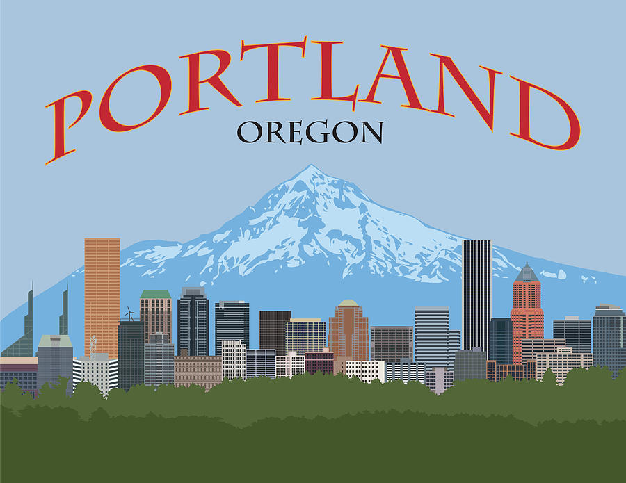 Portland Oregon Skyline Poster Illustration by Jit Lim