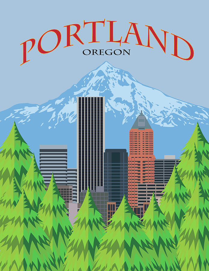 Portland Oregon Skyline Scenic Poster Illustration by Jit Lim