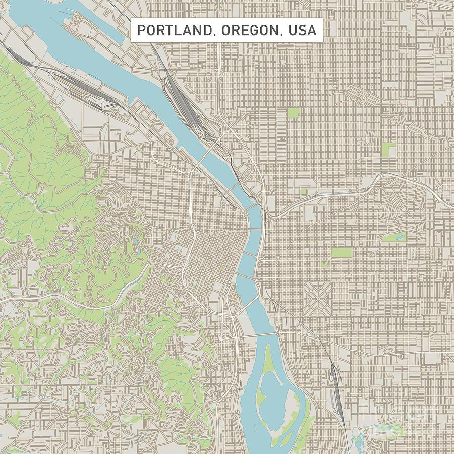 Portland Oregon Us City Street Map