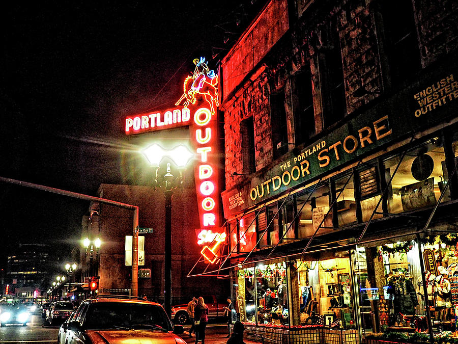 Portland Outdoor Store At Night Photograph