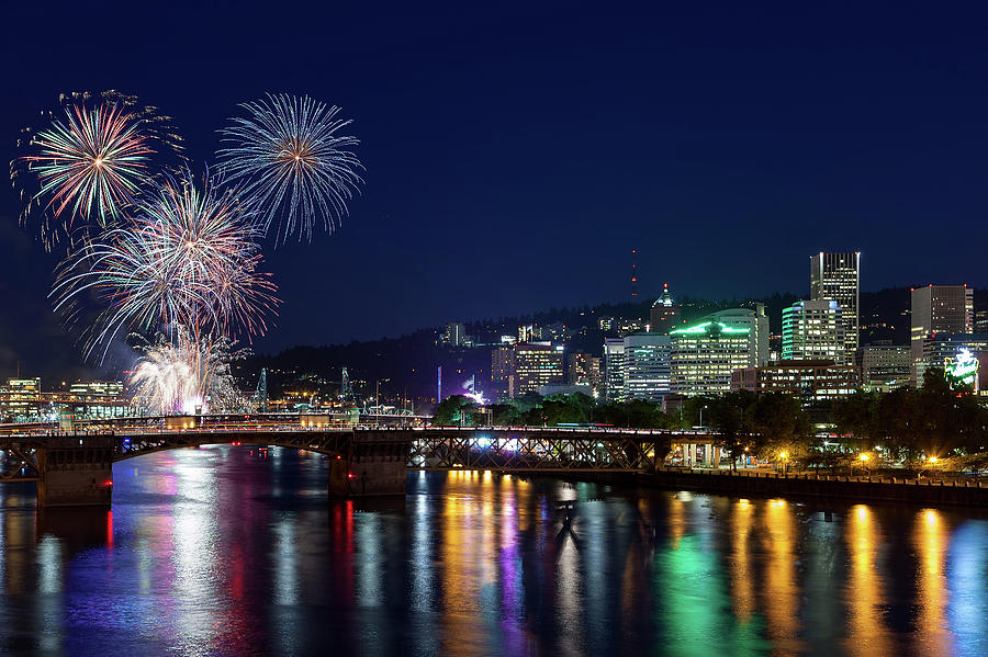 Fireworks Photograph - Portland Rose Festival 2017 Fireworks by David Gn