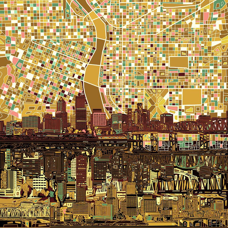 Portland Painting - Portland Skyline Abstract 9 by Bekim M