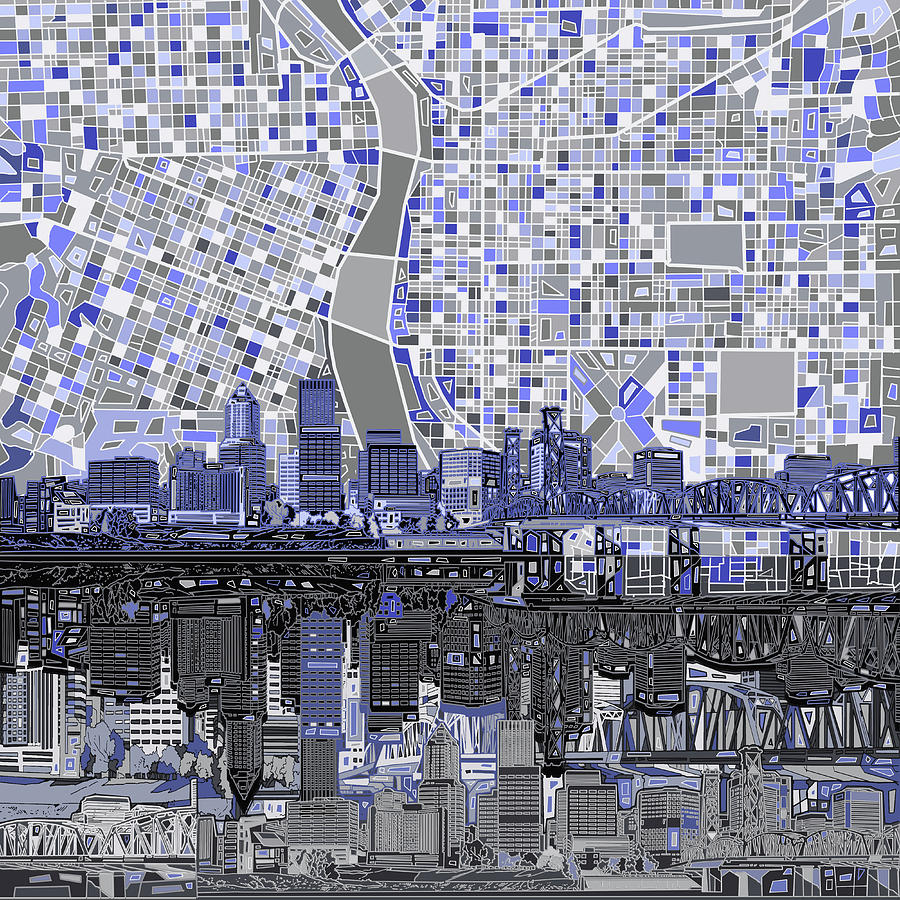 Portland Skyline Abstract Nb Digital Art