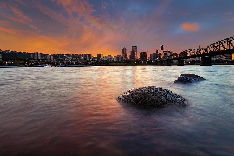 Portland Photograph - Portland Skyline Along Willamette River At Sunset by David Gn