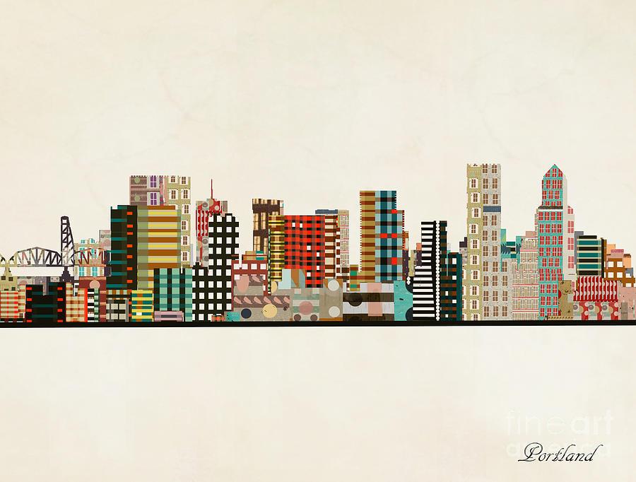 Portland Painting - Portland Skyline by Bri Buckley