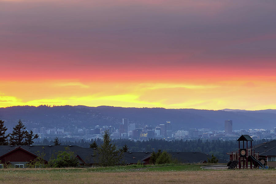Altamont Photograph - Portland Skyline from Altamont Park at Sunset by David Gn