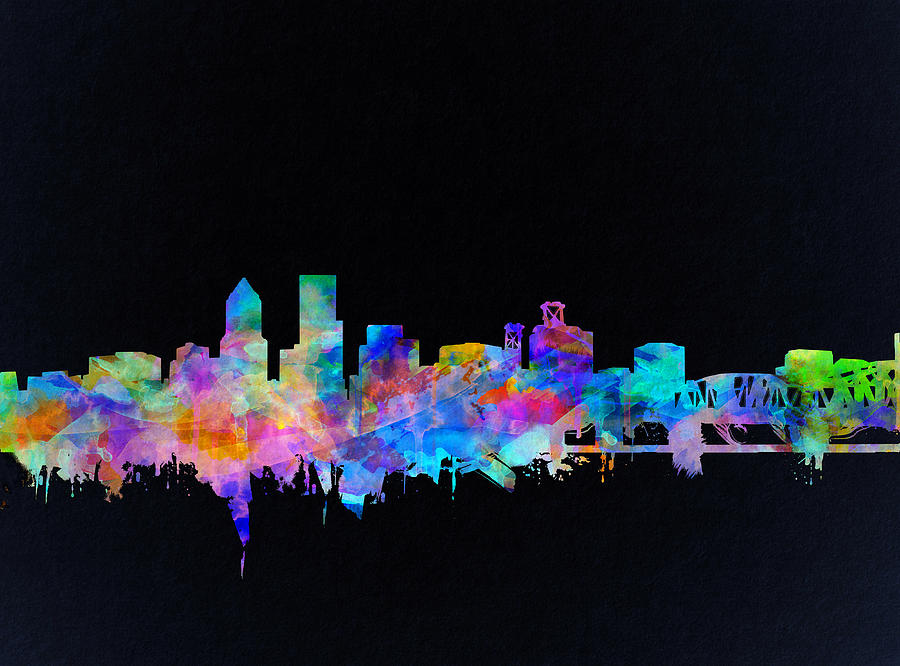 Portland Painting - Portland Skyline Watercolor by Bekim M