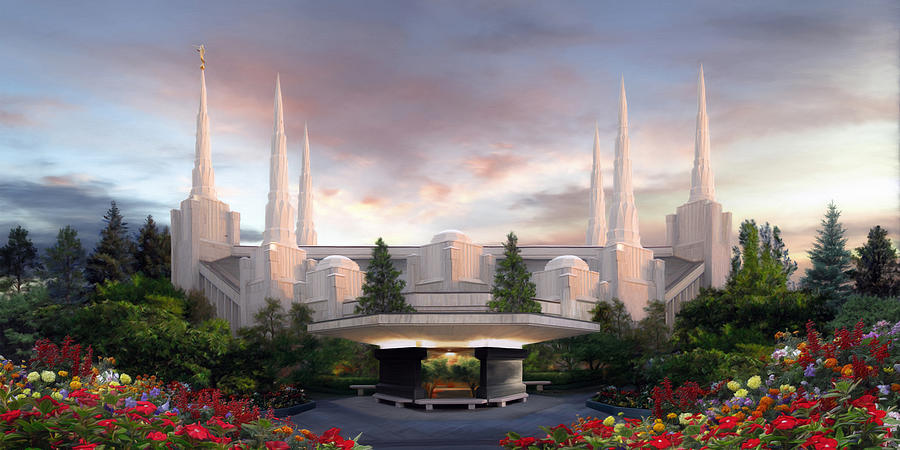 Portland Painting - Portland Temple by Brent Borup