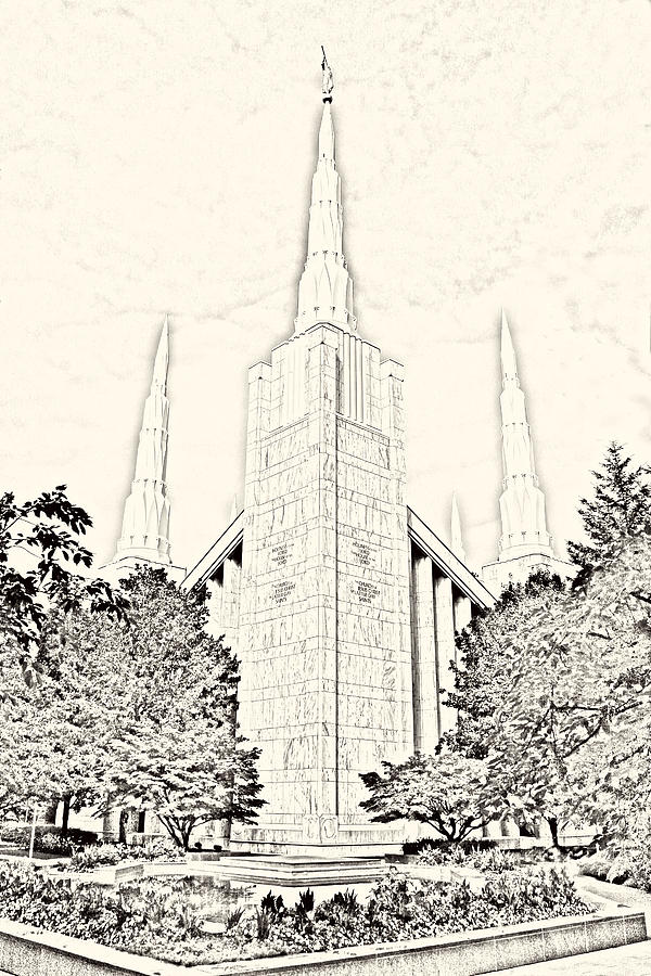 Portland Photograph - Portland Temple Sketch by Misty Alger