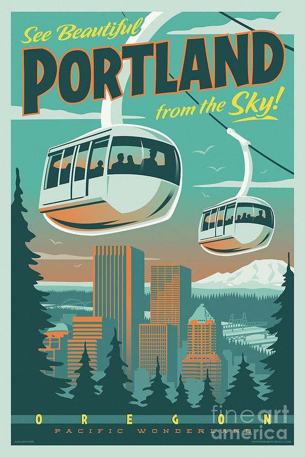 Vintage Digital Art - Portland Poster - Tram Retro Travel by Jim Zahniser