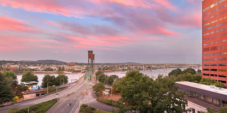Portland Photograph - Portland Waterfront Hawthorne Bridge At Sunset by Jit Lim