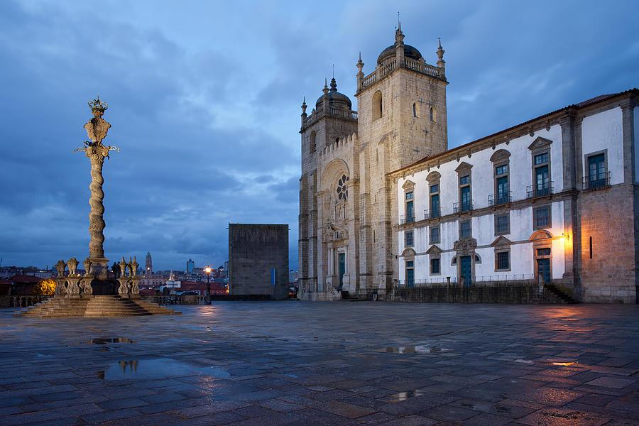 Porto Photograph - Porto Cathedral And Pillory Column In Portugal by Artur Bogacki