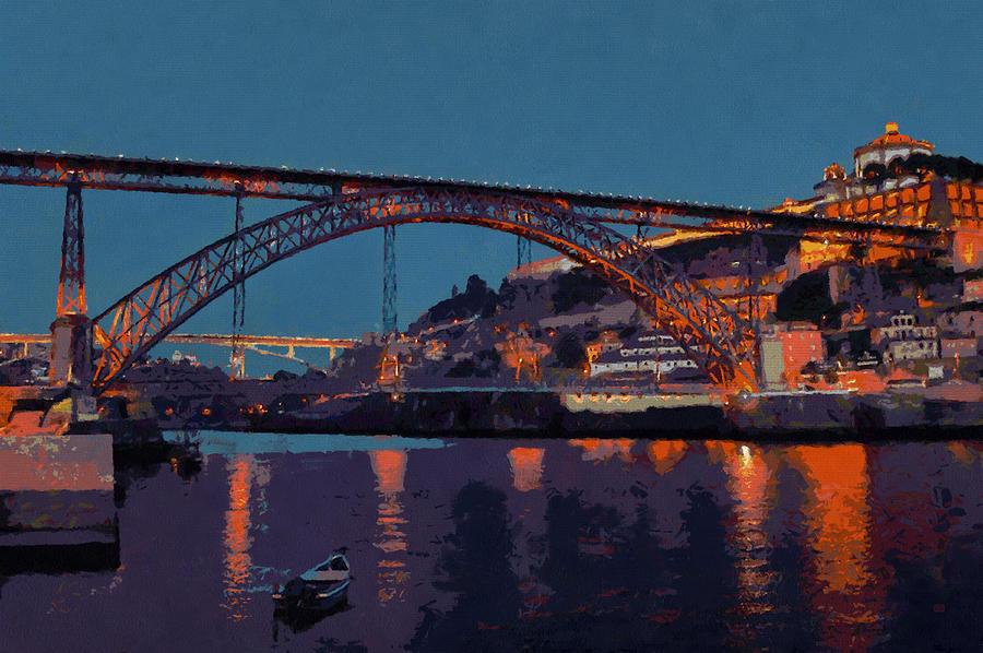 Porto River Douro And Bridge In The Evening Light Photograph by Menega Sabidussi