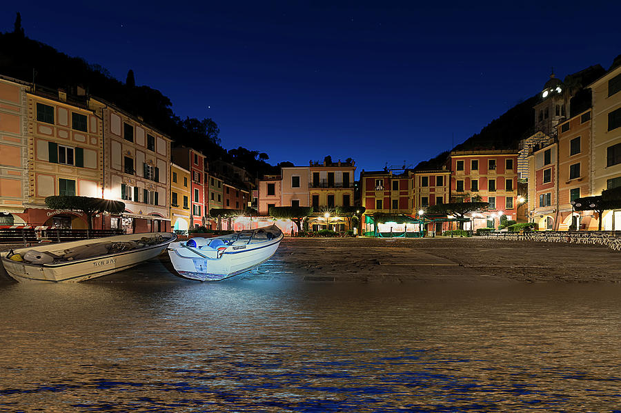 Portofino Photograph - Portofino Bay By Night IIi- Piazzetta Di Portofino By Night by Enrico Pelos