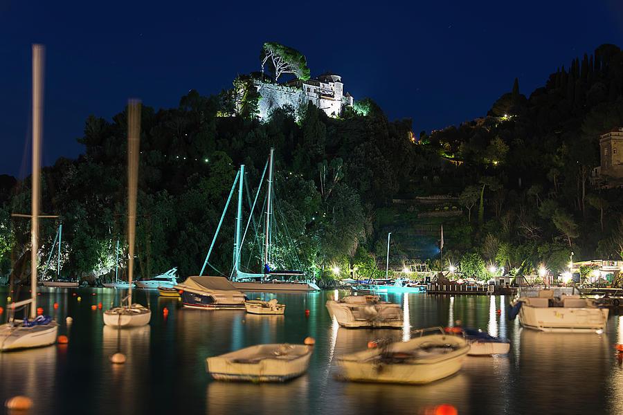 Portofino Photograph - Portofino Bay By Night Iv - Castello Brown Castle by Enrico Pelos