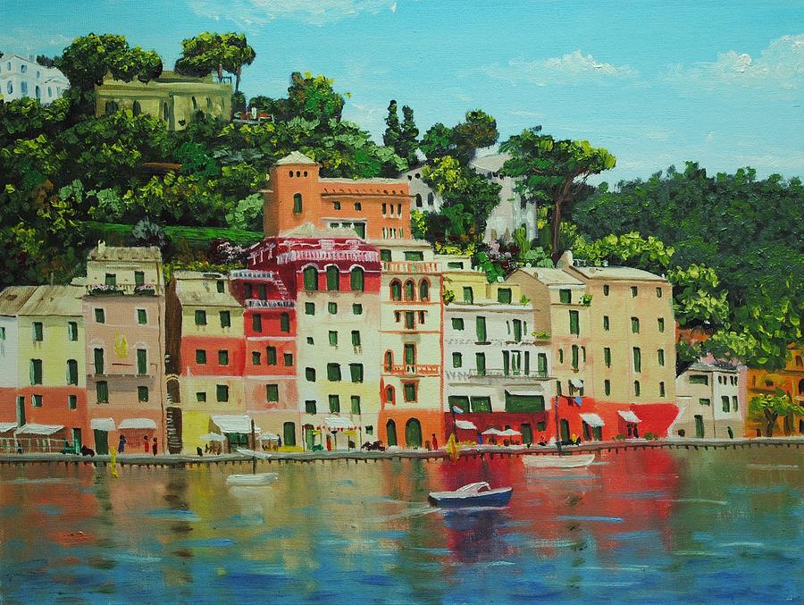 Oil Painting - Portofino Harbour by Nolan Clark