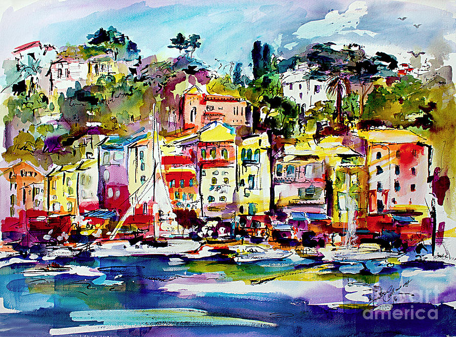 Portofino Italian Riviera Painting by Ginette Callaway