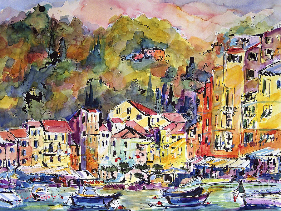 Boats Painting - Portofino Italy by Ginette Callaway
