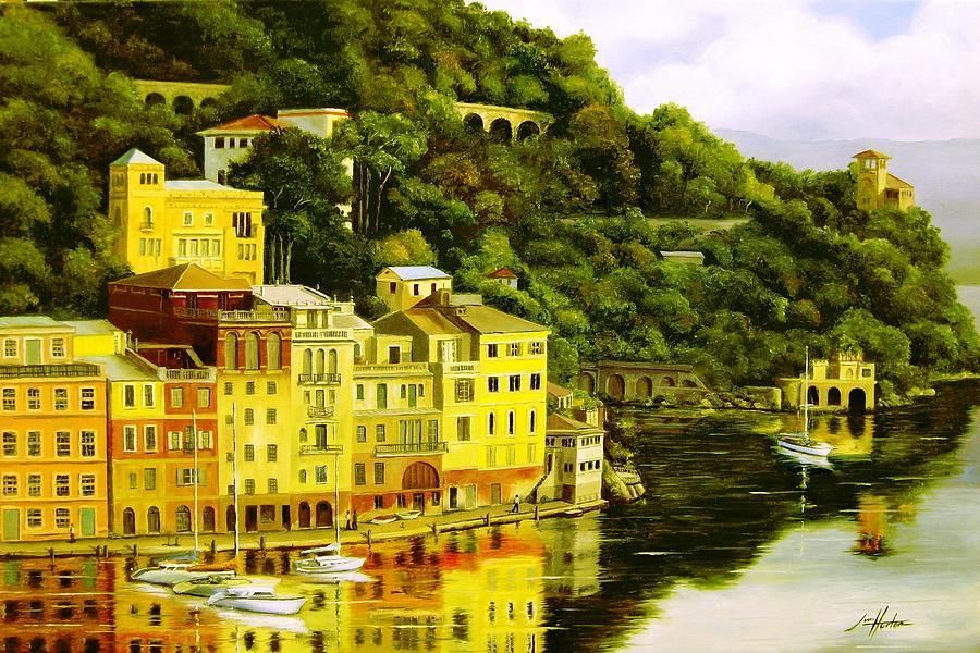 Mountain Painting - Portofino by Jim Horton