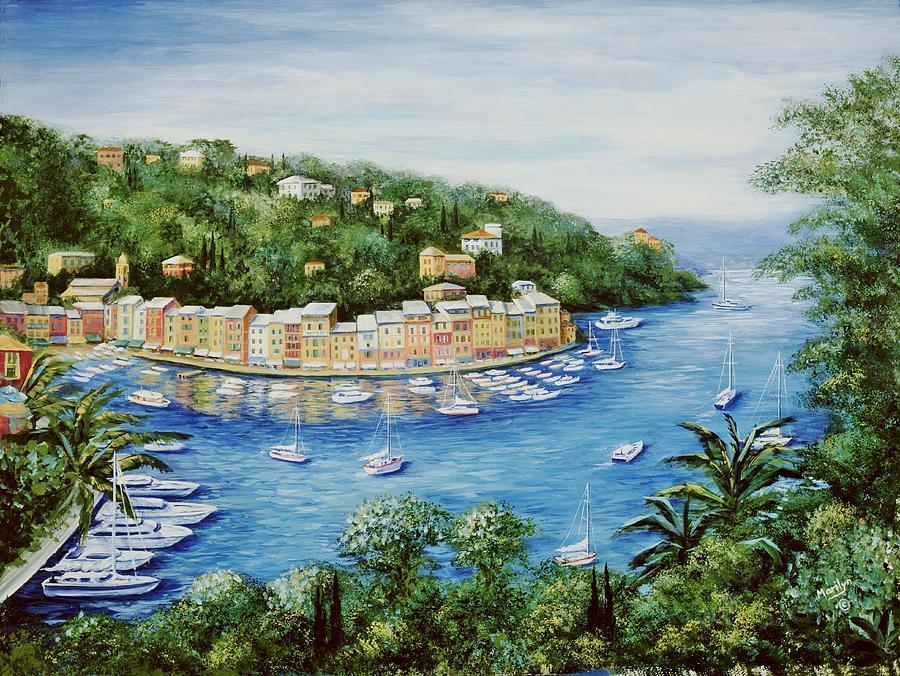 European Painting - Portofino Majestic Panoramic View by Marilyn Dunlap