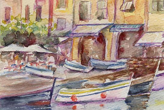 Harbor Painting - Portofino by Maria Tepper