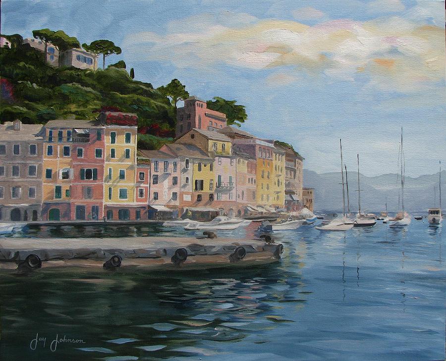 Portofino Port Painting by Jay Johnson