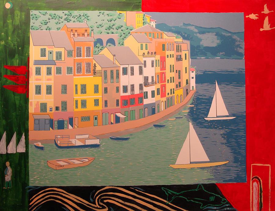 Portofino with birds Painting by Biagio Civale