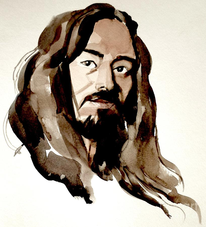Portrait Painting - Watercolor Portrait Of A Man With Long Hair by Greta Corens