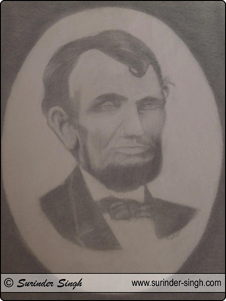 Abraham Lincoln Drawing - Portrait Art by Surinder Singh
