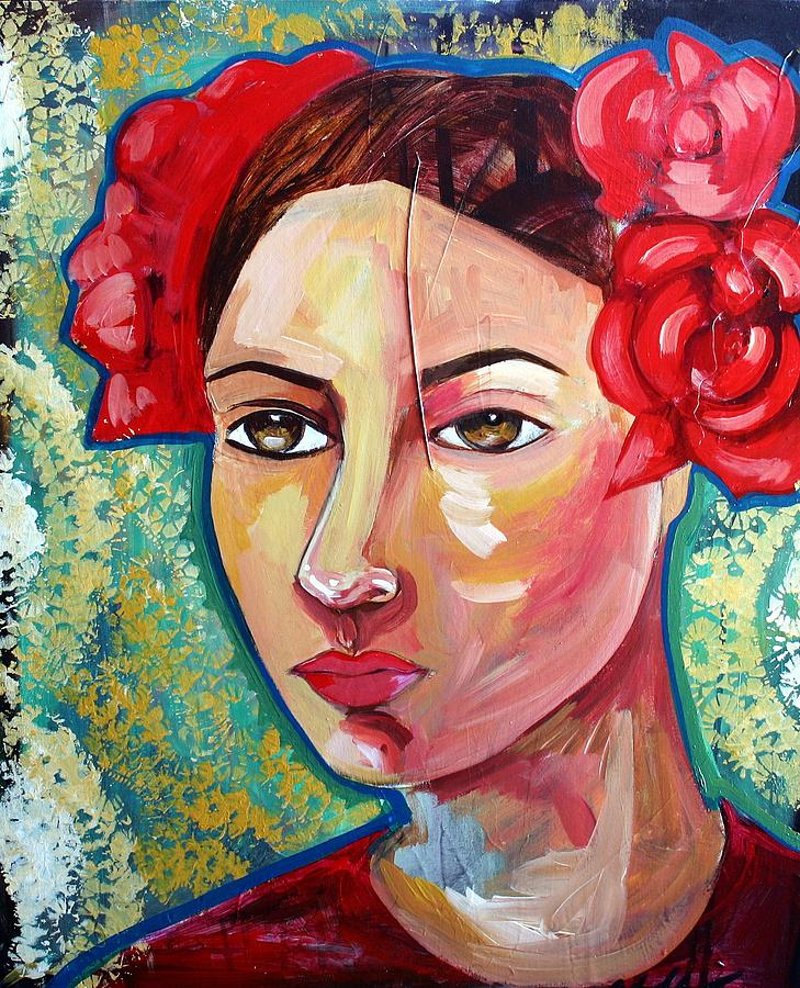 Figurative Painting - Portrait In Blue by Yolanda Gonzalez