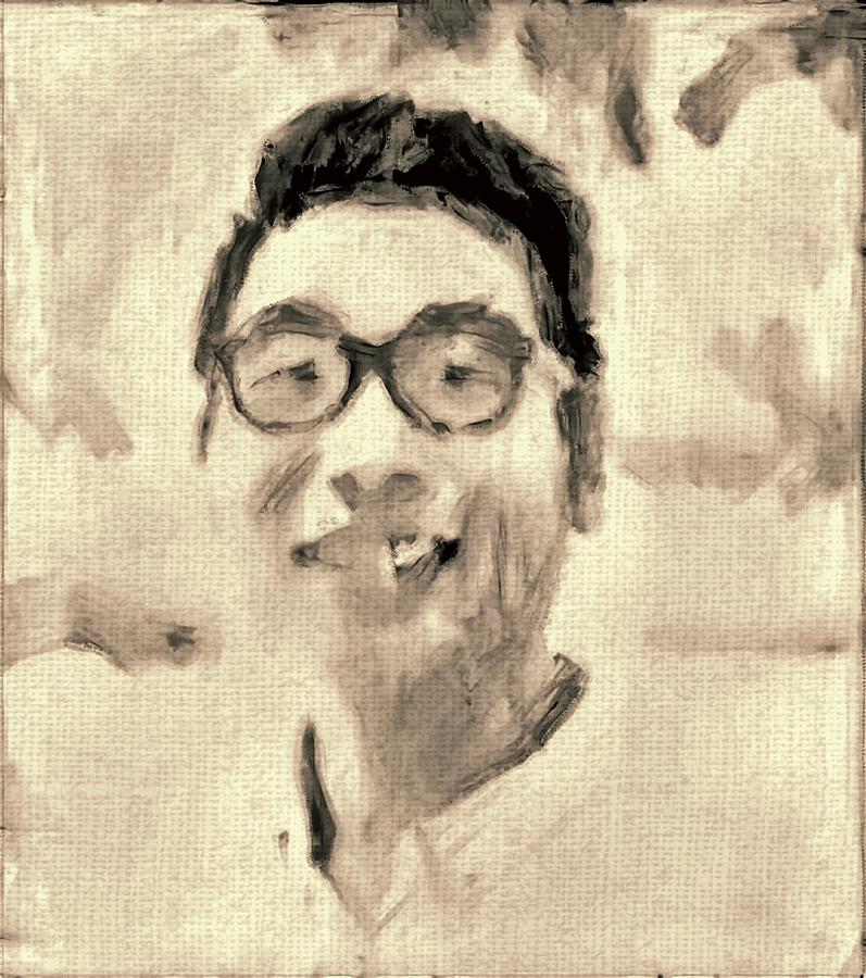Portrait Painting - Portrait In Brown Sepia On Canvas In Oil Just The Underpainting by MendyZ