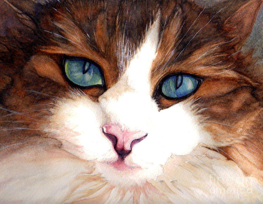 Cat Painting - Portrait Of A Cat by Janine Riley