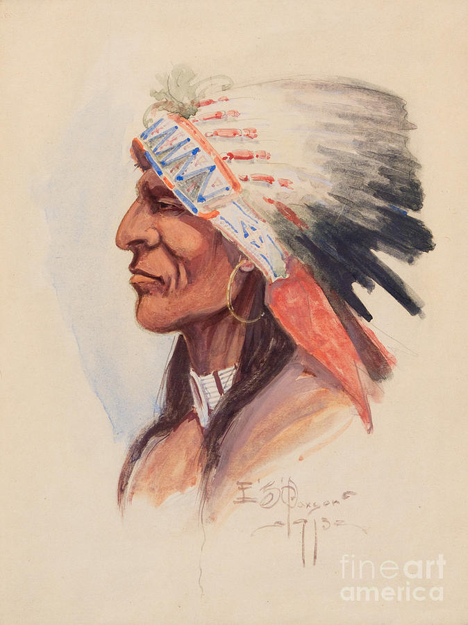 Traditional Painting - Portrait Of A Chief by Celestial Images