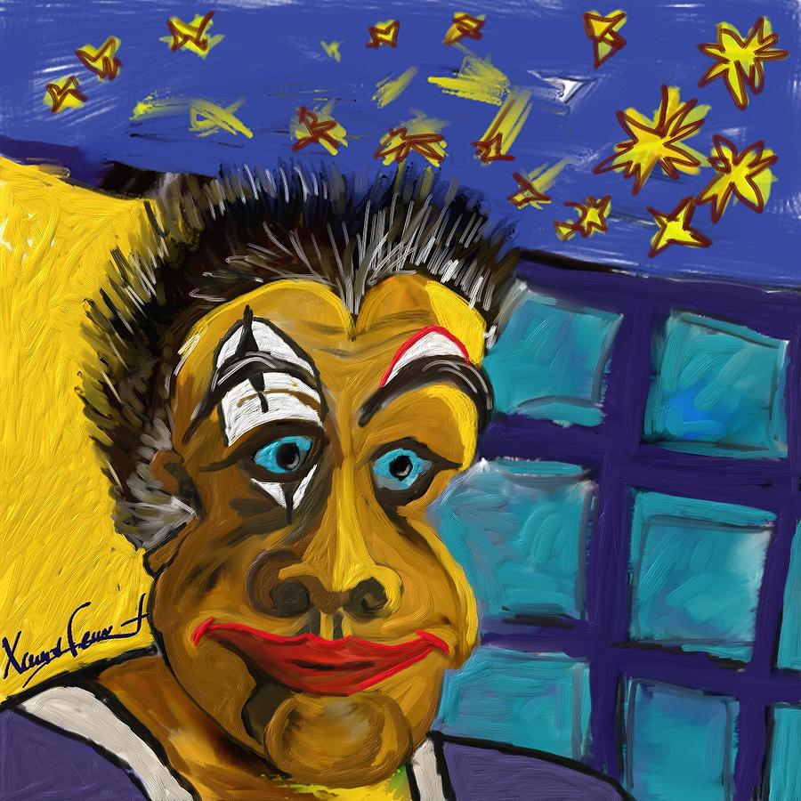 Figurative Painting - Portrait Of A Clown by Xavier Ferrer