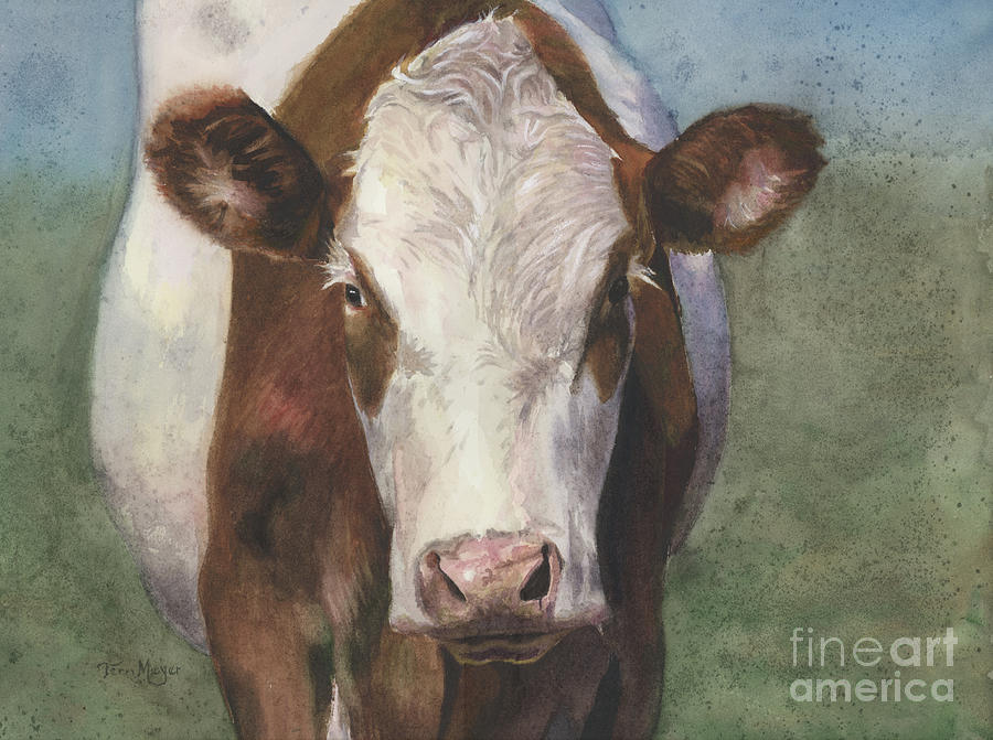 Portrait Of A Cow Iv Painting by Terri  Meyer