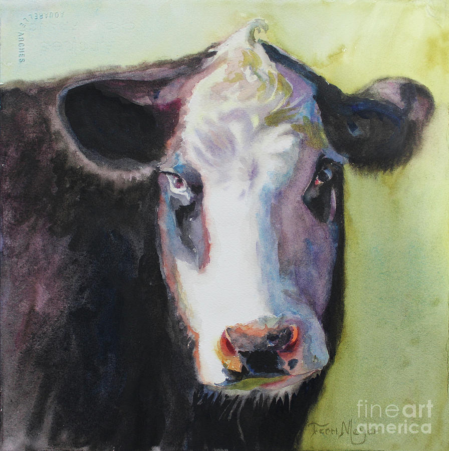 Cow Portrait Painting - Portrait Of A Cow by Terri  Meyer
