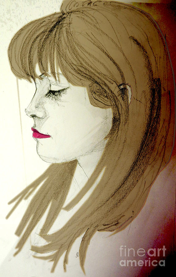 Fine Mixed Media - Portrait Of A Lovely Young Woman by Greta Corens