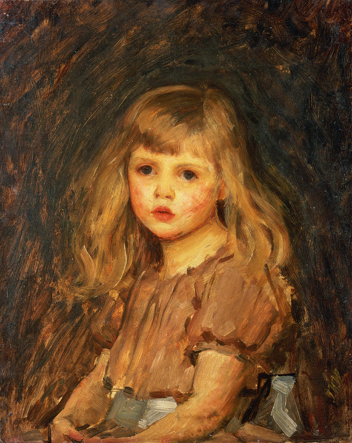 Girl Painting - Portrait Of A Girl by John William Waterhouse