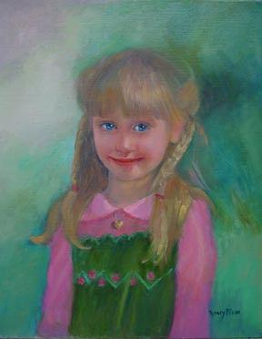 Child Painting - Portrait Of A Girl by Nancy Blum