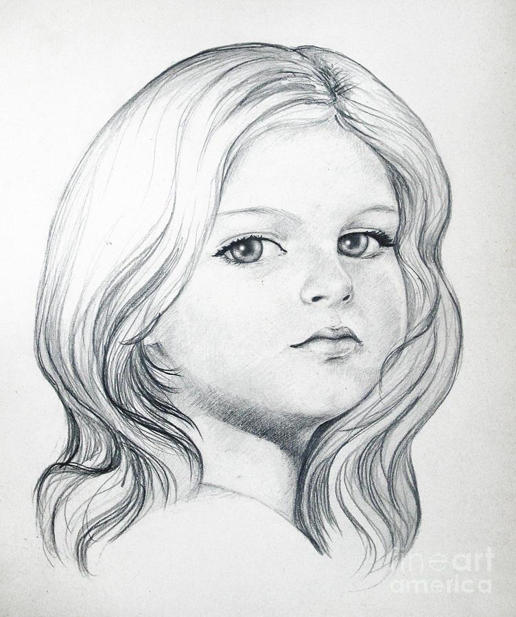 Portrait Of A Girl Drawing by Stoyanka Ivanova