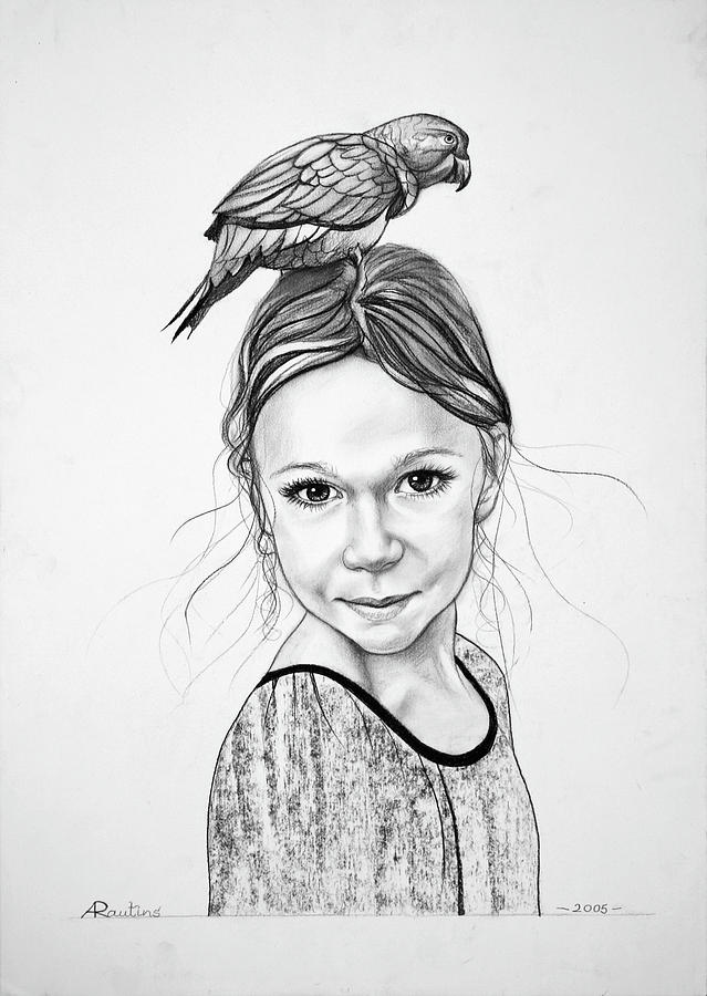 Portrait Drawing - Portrait Of A Girl With Parrot by Agris Rautins