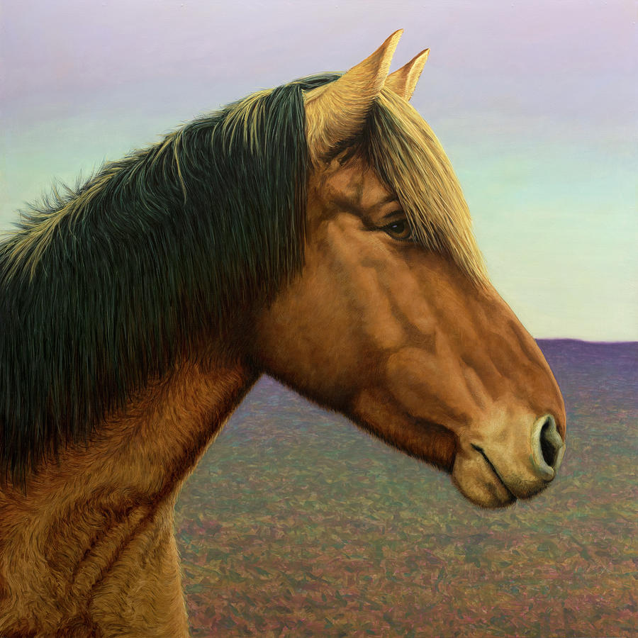 Horse Painting - Portrait of a Horse by James W Johnson