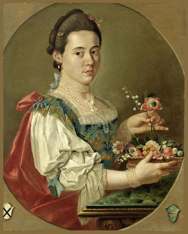 Giacomo Ceruti Painting - Portrait Of A Lady With A Flower Basket by Giacomo Ceruti