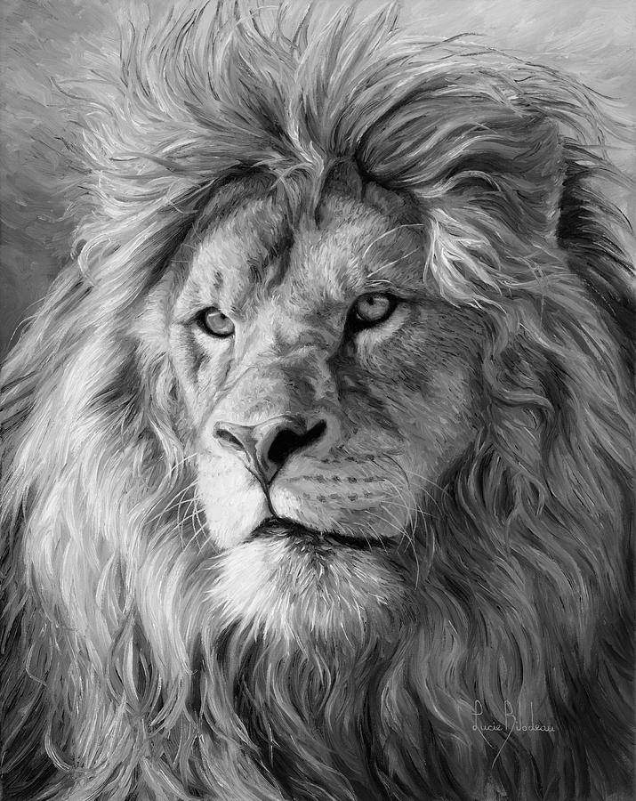Lion painting portrait of a lion black and white by lucie bilodeau