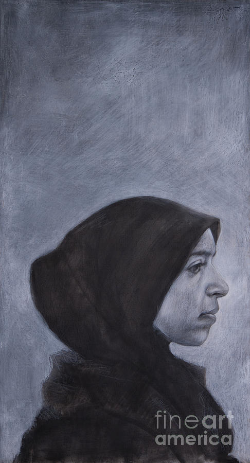 Charcoal Drawing - Portrait of a Moroccan Girl by Jonathan Wommack
