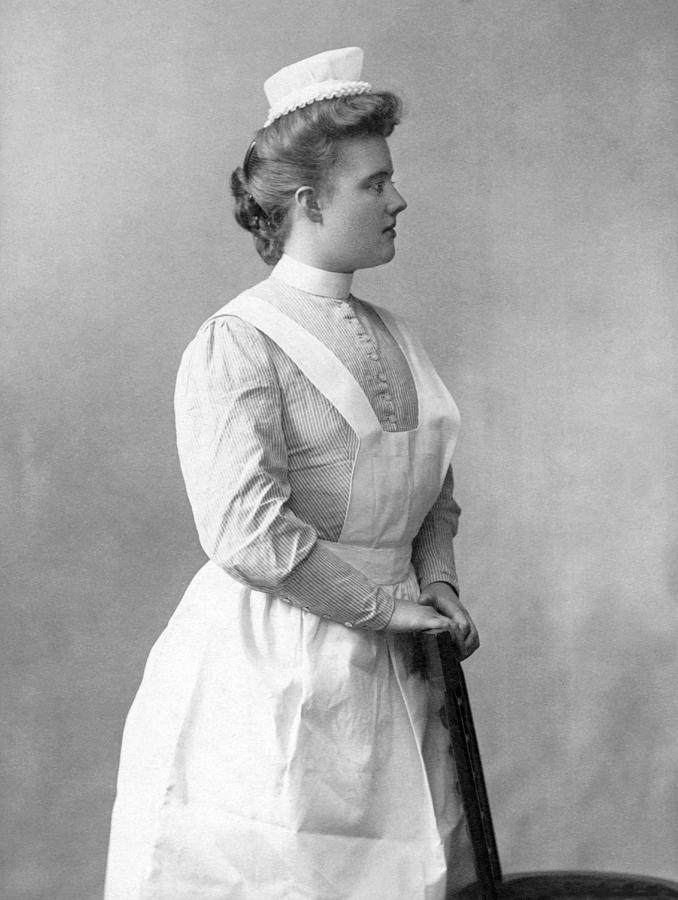 1900's Photograph - Portrait Of A Nurse by Underwood Archives
